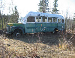 "The bus made famous in the book ""Into The Wild"""