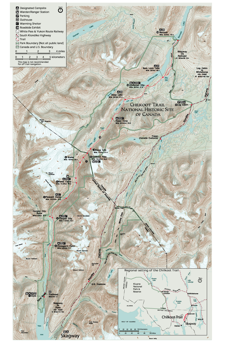 Chilkoot Trail Elevation Map.Chilkoot Trail